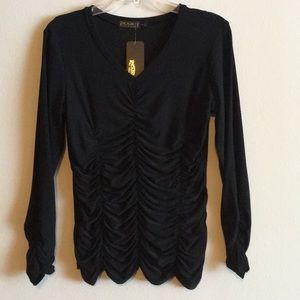 NWT Ruched Top Stretch Cinched Long Sleeve Blouse